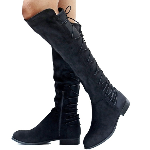 254787765c8 New Black Lace Up Western Knee High Riding Boots Boutique